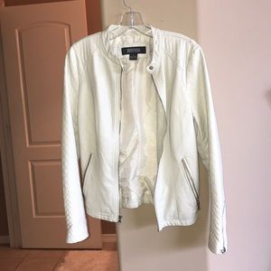 Kenneth Cole White faux textured leather jacket